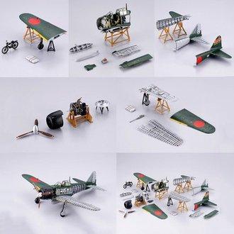 1:48 Zero Fighter Aircraft (Set of 5 w/Sitting Figure)