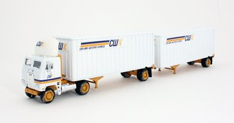 "1:53 Freightliner COE Tractor w/Pup Trailers (2) ""CWX"" *** Excessive Glue on Wheels ***"