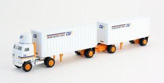 "1:87 Freightliner COE Tractor w/Pup Trailers (2) ""CWX"""