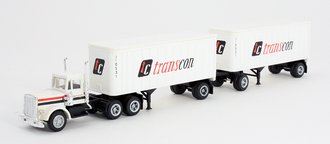 """1:87 Tractor Trailer - Conventional Tractor w/Pup Trailers (2) """"Transcon"""""""