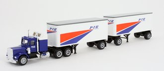 """1:87 Tractor Trailer - Conventional Tractor w/Pup Trailers (2) """"P*I*E"""""""
