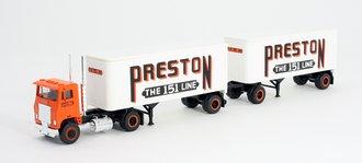 """1:87 Tractor Trailer - COE Tractor w/Pup Trailers (2) """"Preston"""""""