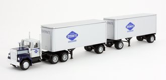 """1:87 Tractor Trailer - Conventional Tractor w/Pup Trailers (2) """"Overnite"""""""
