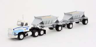 1:87 Conventional Tractor w/Twin Dump Trailers (White/Silver)