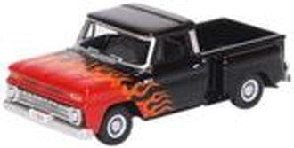 1:87 1965 Chevrolet Stepside Pickup Hot Rod (Black w/Flames)