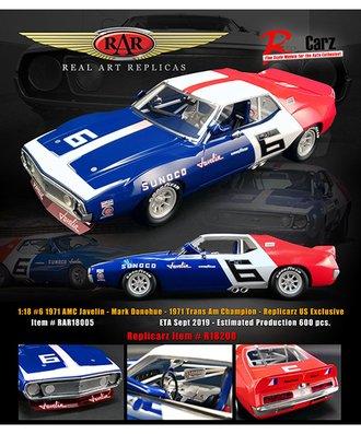 "1:18 1971 AMC Javelin - 1971 Trans Am Champion ""Mark Donohue #6"""