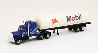 """Conventional Tractor w/Tanker Trailer """"Mobil"""" (Blue/White)"""