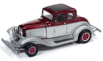 1:64 1932 Ford Coupe (Metallic Red/Silver White)