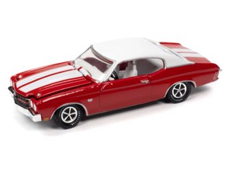 1970 Chevelle SS 396 (Cranberry Red w/Gloss White Stripes & Flat White Vinyl Roof)