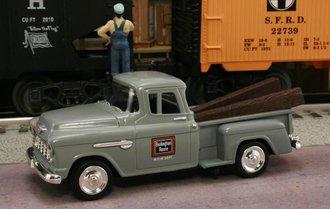 """1955 Chevy Pickup """"Chicago, Burlington & Quincy (Burlington Route) M.O.W. Dept."""" (Gray)"""