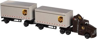 "1:87 UPS Semi w/Pup Trailers (2) ""United Parcel Service (UPS)"""