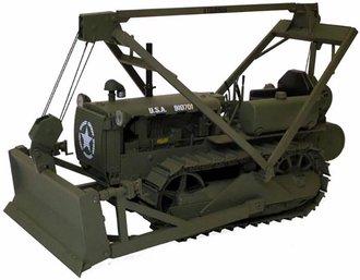 "1:16 Caterpillar D4 2T Crawler w/Push Blade & LeTourneau Winch ""U.S. Army"" (Olive Drab)"