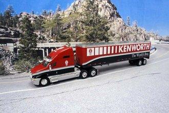 """Kenworth T2000 w/Van Trailer """"Kenworth - The World's Best"""" (Dark Red/Black)"""