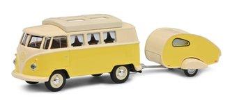 1:64 Volkswagen T1 Camper w/Caravan (Yellow/White)