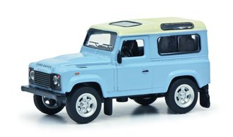 1:64 Land Rover Defender (Light Blue w/White Top)