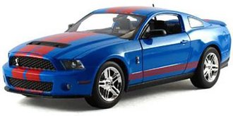 1:18 2010 Ford Shelby GT500 (Grabber Blue w/Red Stripes)