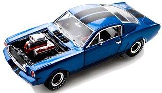 1:18 1965 Shelby GT350R w/Drag Race Engine (Blue w/Black Stripes)