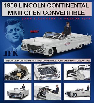 1:18 1958 Lincoln Continental MKIII Open Convertible w/Sen. John F. Kennedy & Driver Figures