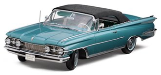 "1:18 1959 Oldsmobile ""98"" Closed Convertible (Aqua Mist Metallic/Black)"