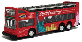 "New York City Sightseeing Open Top Double Decker Bus (Red) (6"" Long)"