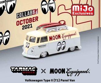 """1:64 Volkswagen Type II T1 Panel Bus w/Roof Rack & Surfboards """"Mooneyes"""" (Cream/Silver)"""