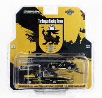 "1:64 1969 Ford F-350 Ramp Truck w/Shelby Cobra ""Terlingua Racing Team"" (Black/Yellow)"