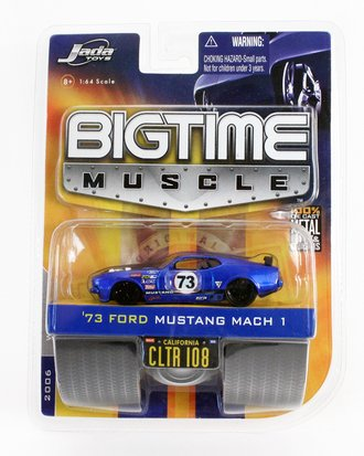 """Big Time Muscle '73 Ford Mustang Mach 1 """"#73"""" (Blue)"""