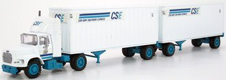 "Ford LS9000 w/Double Trailers ""CSE Con-Way Southern Express"" (White/Blue)"