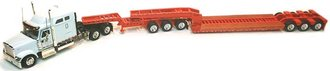 1:53 International 9900 Tractor Midroof Sleeper w/3-Axle Lowboy & 3-Axle Jeep (White/Orange)