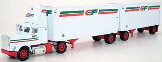 "Semi w/Double Trailers ""CF"" (White)"