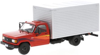 1:43 1985 Chevrolet D-40 Box Truck (Red/Silver)