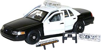 1:43 Ford CV Police (Black w/4 White Doors)