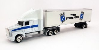 "WhiteGMC Aero ES w/Trailer ""Team Strike Force"" (White) (1:64 Tractor w/Undersized Trailer)"