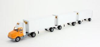 "International 8300 Day Cab w/Triple Pup Trailers (3) ""Yellow Transit"""