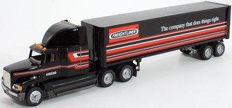 "Freightliner FLD 120 High-Roof Sleeper w/Van Trailer ""Freightliner - Does things right."""