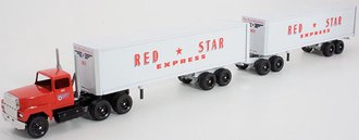 """Ford 9000 Day Cab w/Double Van Trailers (2) """"Red*Star Express"""""""