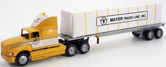"""Ford AeroMax 120 Sleeper w/Flatbed Trailer & Covered Load """"Mayer Truck Line, Inc."""""""