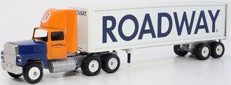 "Ford 9000 Day Cab w/Van Trailer ""Roadway"" (Orange/Blue/White)"