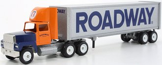 "Ford 9000 Day Cab w/Van Trailer ""Roadway"" (Orange/Blue/Silver)"