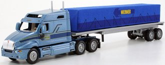 "Kenworth T2000 Mid-Roof Sleeper w/Flatbed Trailer & Covered Load ""Werner"""