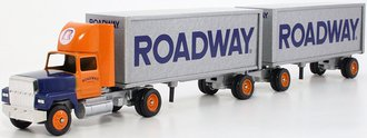 """Ford 9000 Day Cab w/Double Pup Trailers (2) """"Roadway"""" (Orange/Blue/Silver)"""