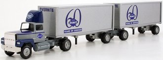 """Ford 9000 Day Cab w/Double Pup Trailers (2) """"Overnite - 60 Years of Service"""""""