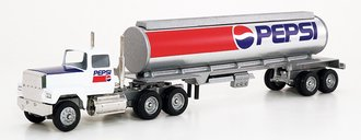 """Ford 9000 Day Cab w/Cylindrical Tanker Trailer """"Pepsi"""" (White)"""