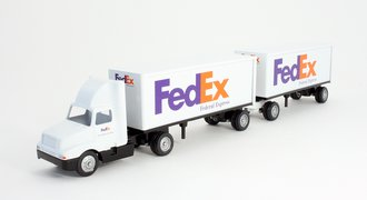 """International 8300 Day Cab w/Double Pup Trailers (2) """"FedEx Express"""""""