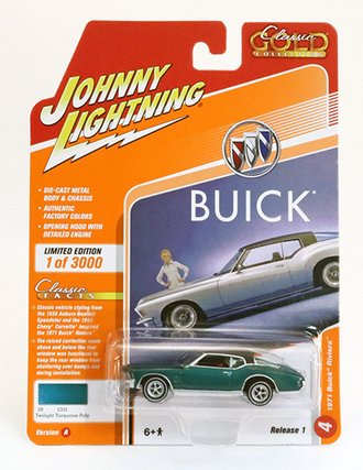 White Lightning 1:64 1971 Buick Riviera (Twilight Turquoise w/WHITE Chassis) *** Only 60 Made ***