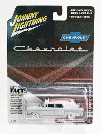 White Lightning 1:64 1957 Chevrolet Hearse (White w/American Flag)
