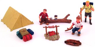 1:48 O Campers (3) w/Tent & Campfire Accessories