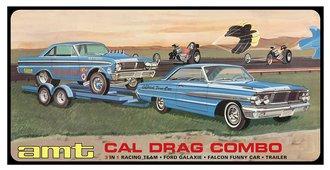 Cal Drag Combo 1964 Galaxie, AWB Falcon & Trailer (Model Kit) ***Box Damage***