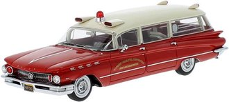 1:43 1960 Buick Electra 225 Ambulance (Red/White) *** Loose Seat Inside ***