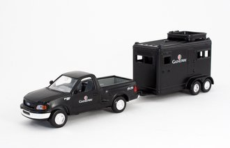 """Ford Pickup Truck w/Horse Trailer """"Gainesway Farm"""" (Black)"""